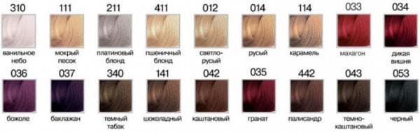 краска для волос рябина палитра цветов