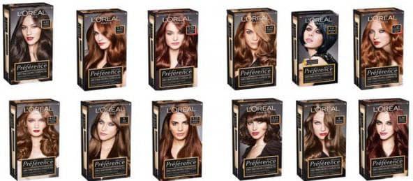 краска для волос лореаль преферанс палитра цветов