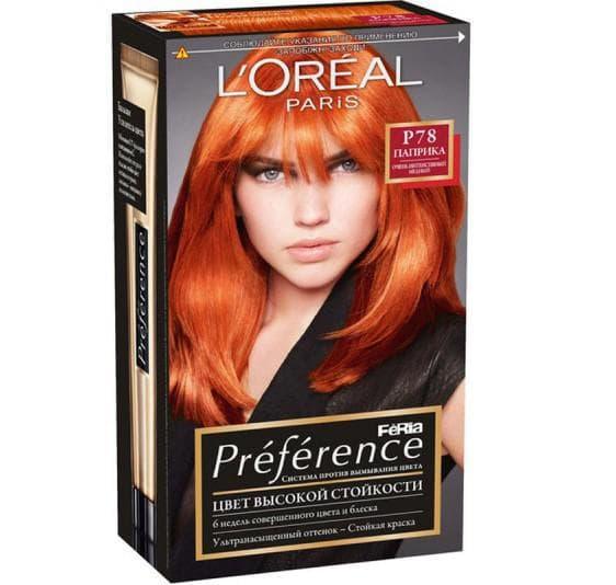 рыжие оттенки краски для волос Loreal Preference
