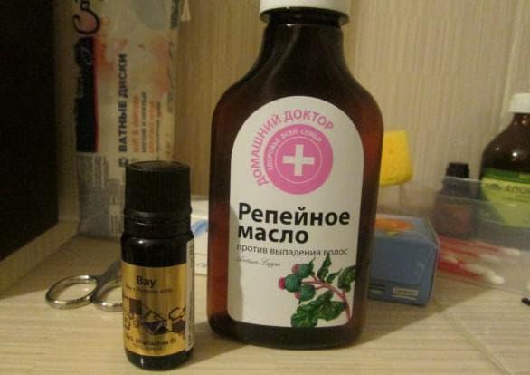 масло бей, соль и репейное масло