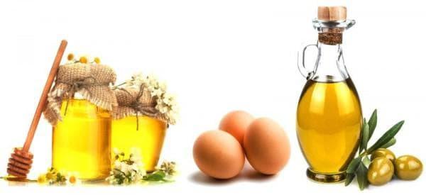 мёд и два желтка и оливковое масло