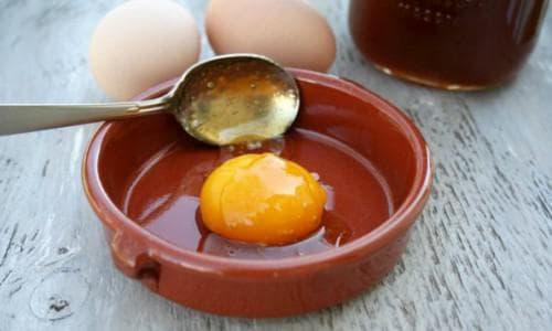 маска с использованием меда и яичного желтка