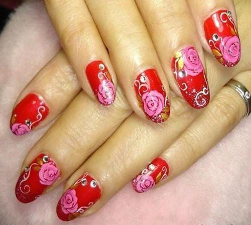 рисунки на ногтях гель лаком Розочки